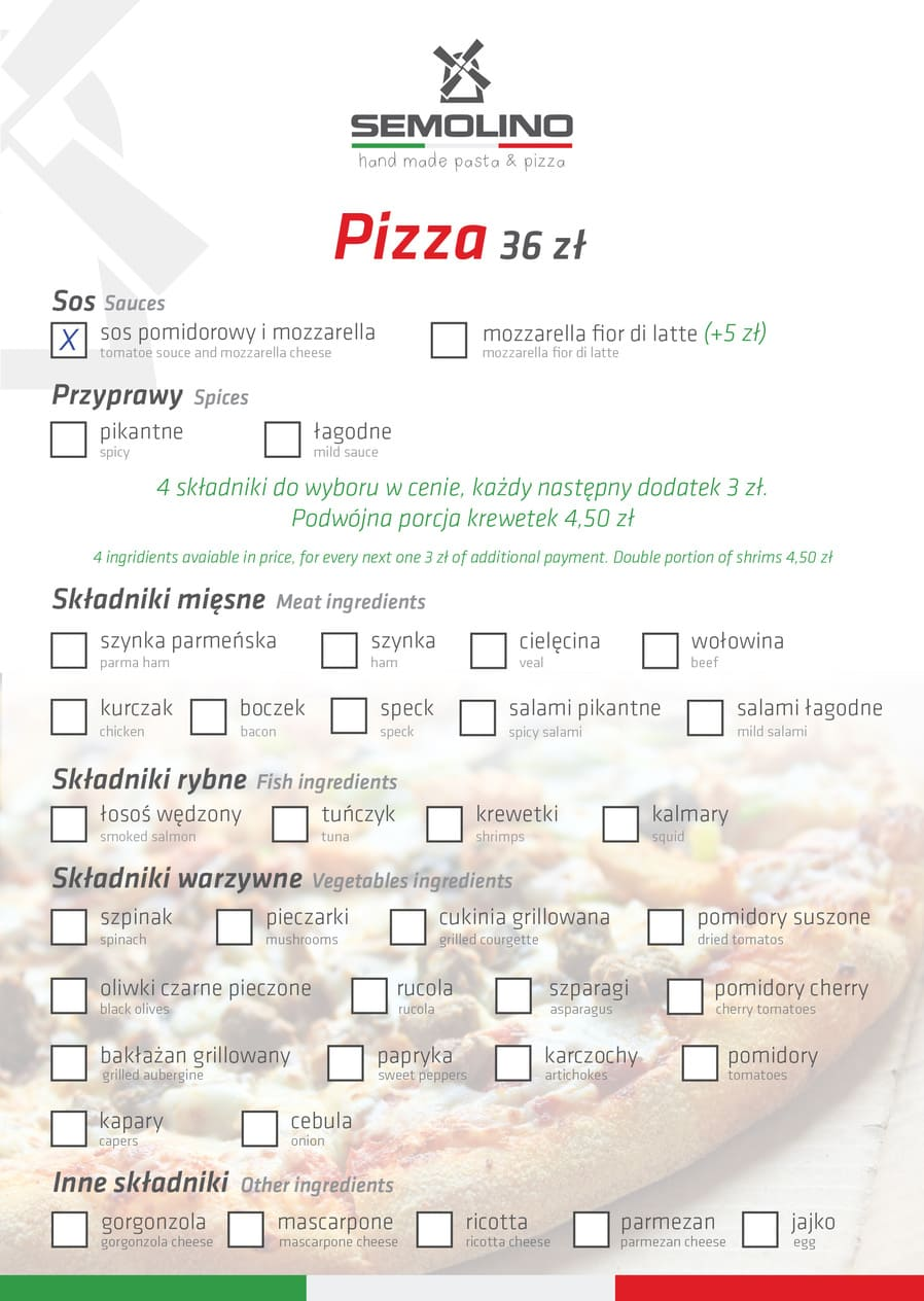 menu pizza - Restauracja Semolino